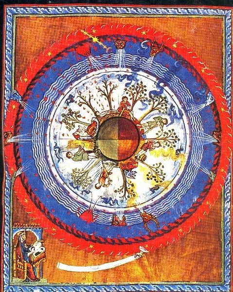 Hildegard seeing a vision (from Book of Divine Works)